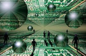 Businesspeople in Cyberworld